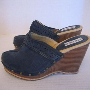 Steve Madden Charade Blue Suede Wedge Mules Sz 8.5